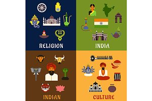 Indian culture and travel flat icons