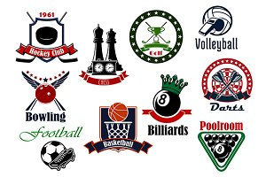 Heraldic sport icons with game items