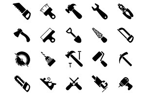 Hand and power tools black icons
