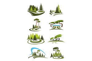 Park, garden and forest icons