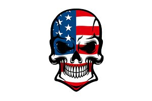 Human skull with American flag