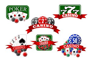 Casino, jackpot and poker game icons