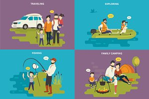 Family flat illustrations set #22