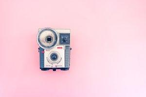 Vintage camera Kodak,pink hero image