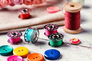 Bright buttons and thread