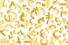 Golden signs of world currencies