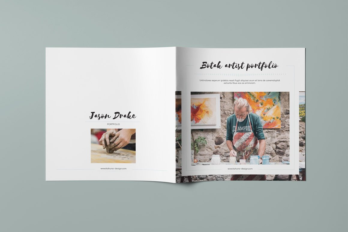 Botak artist portfolio brochure templates creative market for Art brochure template