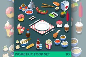 Diet Set Food Isometric