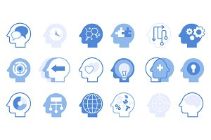Head brain vector icons