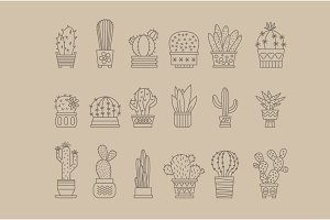 Set of vector cactus icons