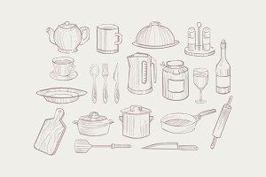 Hand drawn set of kitchen utensils