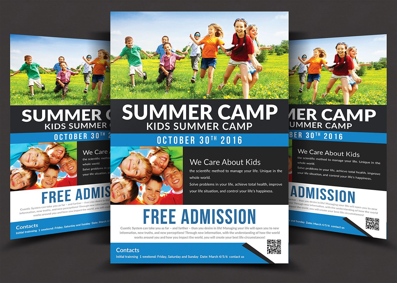 Kids Summer Camp Flyer Templates Flyer Templates Creative Market - Summer camp brochure template