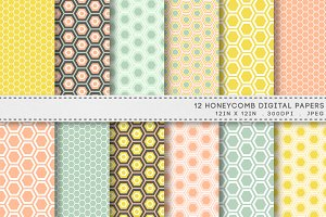 12 Honeycomb Hexagon Digital Papers