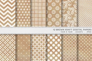 12 Brown Kraft Digital Papers