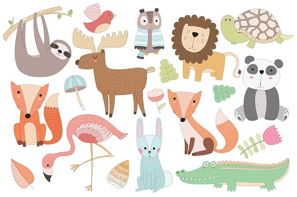 Cute Animal Vector & PNG Clipart Set