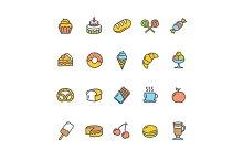 Bakery Icon Set Color. Vector