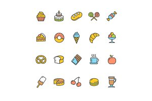 Bakery Icon Set Color. Vector