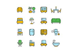 Furniture Icon Set Color. Vector