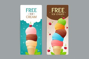 Ice Cream Coupon Set. Vector