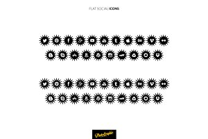 Flat social ICONS STARS