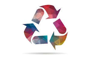 low poly recycling symbol