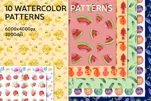 + Watercolor Patterns +