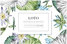 Loto, Luxurious Lotus Print & Motifs by  in Graphics