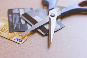 Scissors on credit card