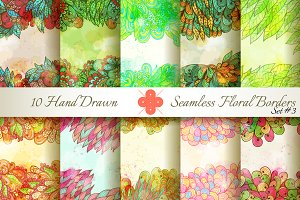 10 Floral Seamless Borders. Set#3