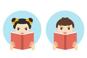 Girl and boy reading a book.