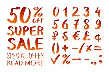 Sale and set of numbers 0-9