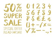 Gold glittering numbers 0-9