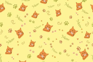 Seamless Pattern with Cat Muzzle