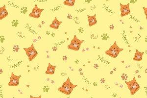 Seamless Pattern with Cat Muzzle