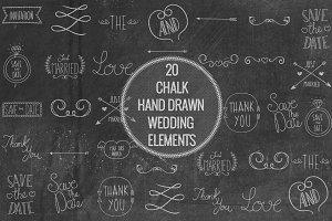 Chalk Hand Drawn Wedding Elements