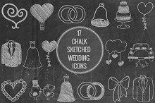 Chalk Sketched Wedding Icons