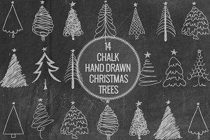 Chalk Hand Drawn Christmas Trees