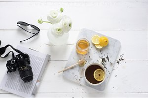 Styled Stock Photo, Tea & Honey