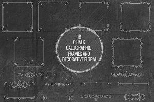 Chalk Calligraphic Frames, Florals