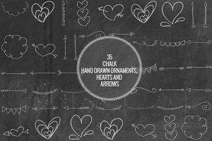 Chalk Hand Drawn Ornaments, Hearts