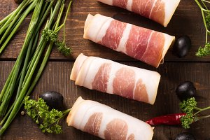 top view of bacon with herbs