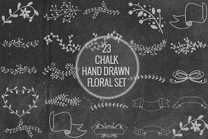 Chalk Hand Drawn Floral Set