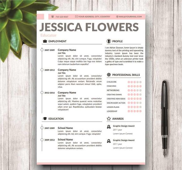 Modern Resume Template for MS Word ~ Resume Templates ~ Creative ...