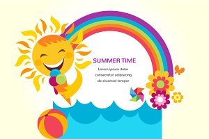 Summer time 3 backgrounds & cards