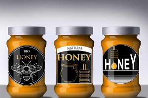 Honey badges in graphic