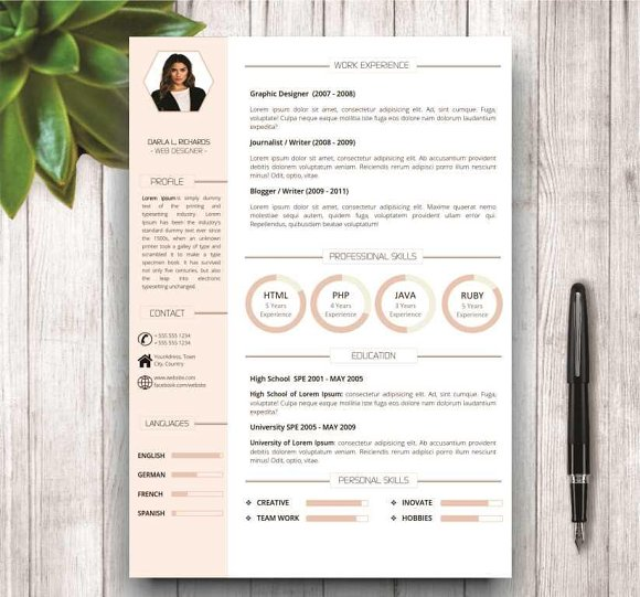 Modern Resume Template for Word in Resume Templates