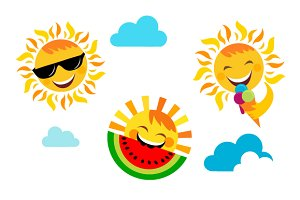 3 vector Sun icons + background