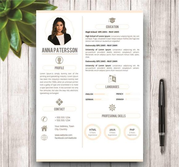 minimalist resume template 4 pages resume templates creative market - Minimalist Resume Template