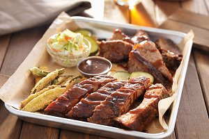 smoked barbecue meat plate