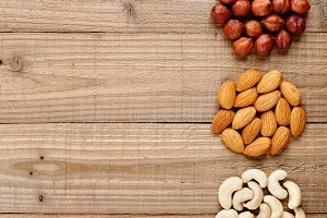 Filberts, almonds and cashew nuts